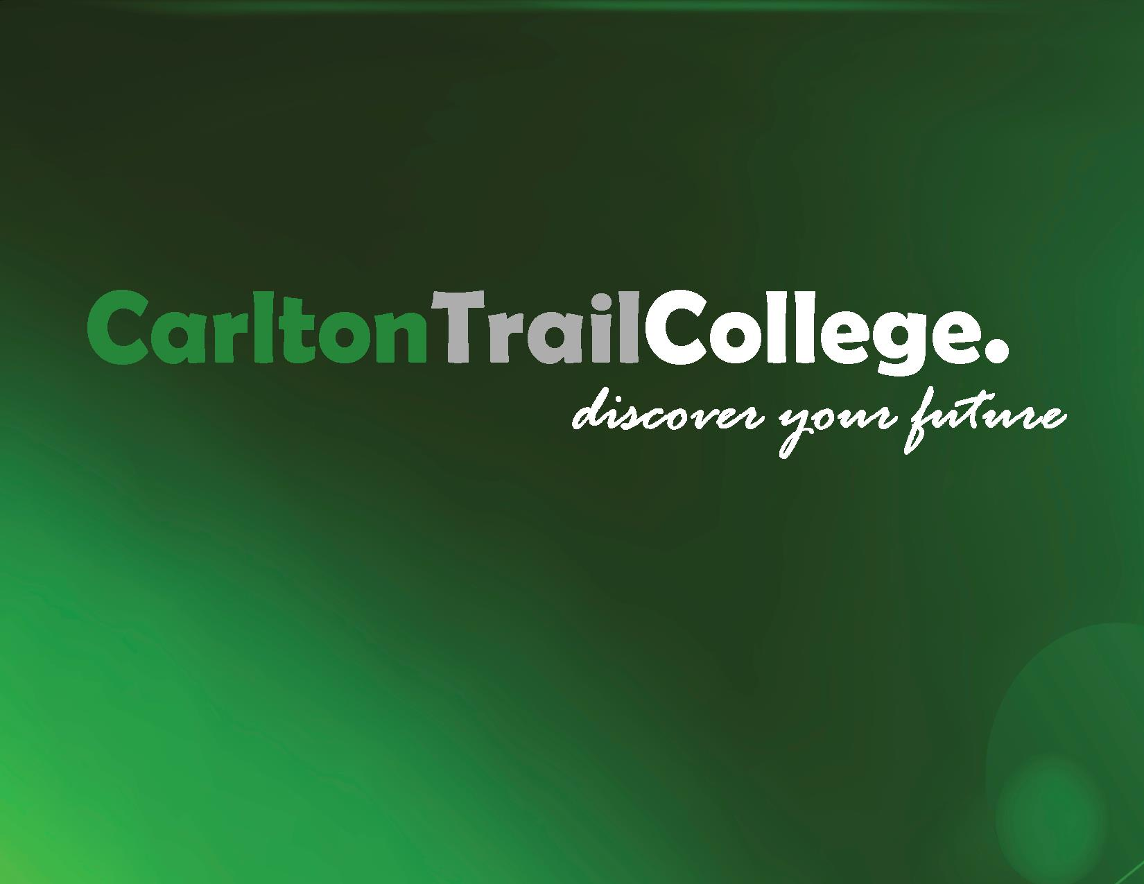 Carlton Trail College Logo on dark green background.